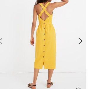 Garment-Dyed Apron Midi Dress